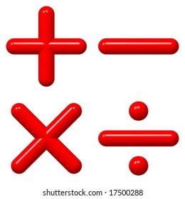 Perfect shiny 3d math symbols isolated on white