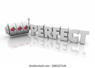 Perfect Slot Machine Wheels Dials Word 3d Illustration