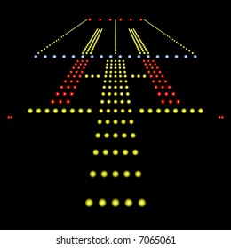 Perfect view of airport runway lights at night isolated on black