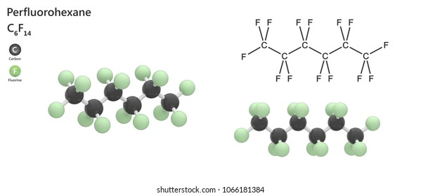Perfluorohexane (Molecular formula: C6F14) is a gaseous substance used as an imaging contrast agent in echocardiogram. 3d illustration. The molecule is represented in different structures.