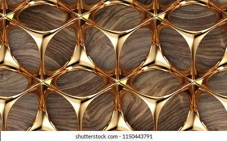 Perforated solid gold construction on wooden background. Metal grid. High quality seamless realistic texture.
