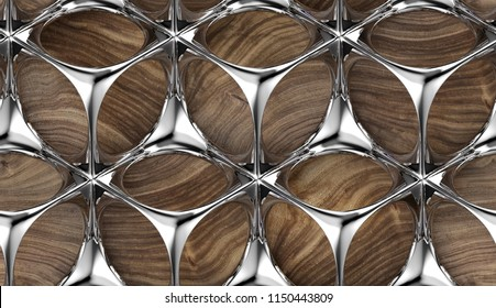 Perforated solid silver metal construction on wooden background. Metal grid. High quality seamless realistic texture.