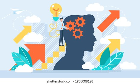 Performance boost with mentoring job. Upskilling learn as work educational qualification rise person concept. Employee training and coach for positive progress and smart labor. Flat design.