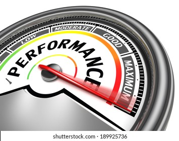 performance conceptual meter indicate maximum, isolated on white background