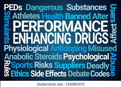 Performance Enhancing Drugs Word Cloud on Blue Background