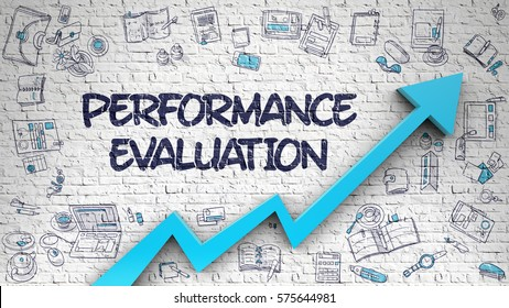 Performance Evaluation - Modern Style Illustration with Doodle Elements. Performance Evaluation - Development Concept with Doodle Design Icons Around on the White Wall Background.