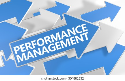 Performance Management - 3d render concept with blue and white arrows flying over a white background.