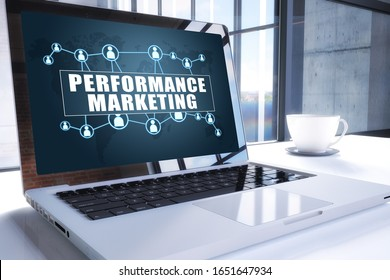Performance Marketing text on modern laptop screen in office environment. 3D render illustration business text concept.