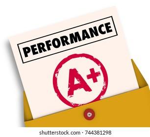 Performance Report Card Grade Review A Plus 3d Illustration