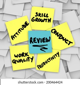 Performance Review words on yellow sticky notes including attitude, work quality