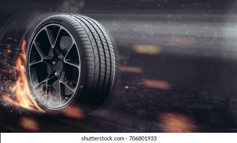 Performance tire (with grunge/dust overlay) - 3D Illustration