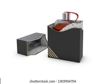 Perfume bottle in black and white box on white background. Concept of new scent promotion. 3d rendering