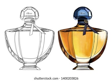 Perfume bottle, digital drawing fashion illustration