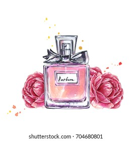 Perfume bottle and flowers. Watercolor illustration in sketch style