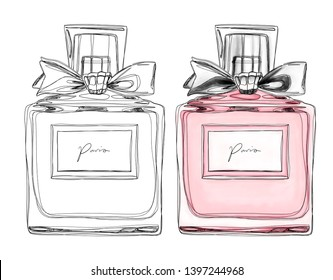 Perfume bottle, hand drawn fashion illustration in elegance style