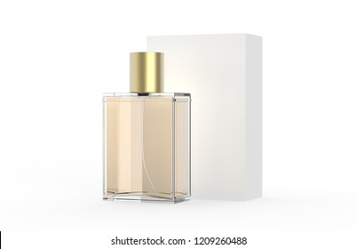 Perfume Bottle And Packaging Box On Isolated White Background, 3D Illustration