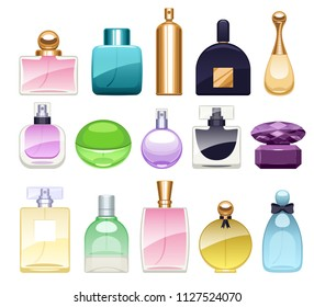 Perfume bottles icons set illustration. Eau de parfum. Eau de toilette.