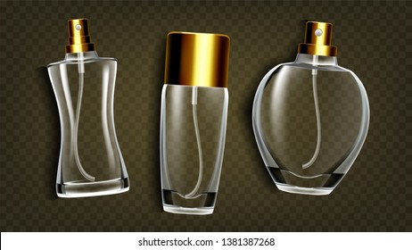 Perfumery Products, Toilet Water Mockup Set. Perfumery Accessories, Female Perfume Bottles Isolated On Background. Female Cologne, Scent. Luxury Cosmetics Realistic Illustration