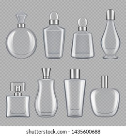 Perfumes bottles. Realistic pictures of glass bottles. bottle container illustration