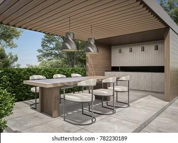 pergola dining area 3D render