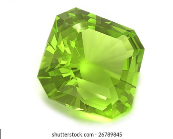 Peridot, chysolite or emerald gemstone isolated on white background