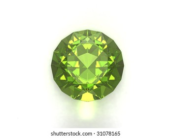 Peridot or chysolite gemstone isolated on white background