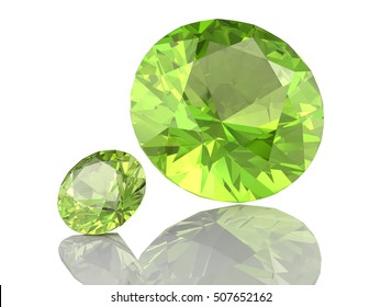 Peridot gem on white background .3D illustration