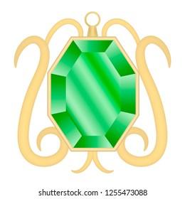 Peridot gemstone mockup. Realistic illustration of peridot gemstone mockup for web design isolated on white background