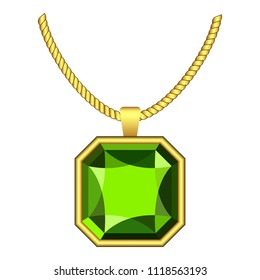 Peridot jewelry icon. Realistic illustration of peridot jewelry icon for web design isolated on white background