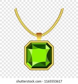 Peridot jewelry icon. Realistic illustration of peridot jewelry icon for on transparent background