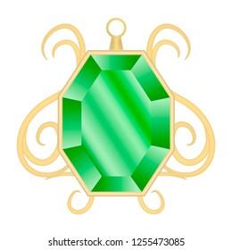 Peridot jewelry mockup. Realistic illustration of peridot jewelry mockup for web design isolated on white background