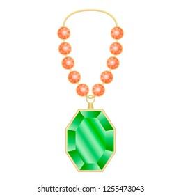 Peridot necklace mockup. Realistic illustration of peridot necklace mockup for web design isolated on white background