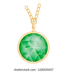 Peridot pendant mockup. Realistic illustration of peridot pendant mockup for web design isolated on white background