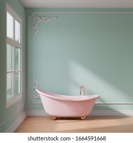 Period building bathroom with stucco walls and a pink bathtub 3D rendering