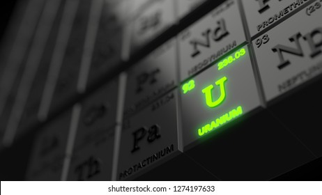periodic table concept with black cubes. uranium element is glowing. suitable for, physics, science, technology and education themes. 3d illustration