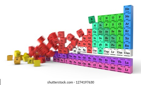 periodic table concept with falling cubes. suitable for, physics, science, technology and education themes. 3d illustration with motion blur
