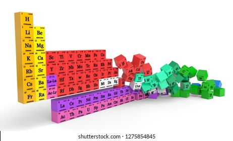 periodic table concept with falling cubes. suitable for, physics, science, technology and education themes. 3d illustration