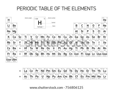Periodic Table Elements Black White Color Stock Illustration