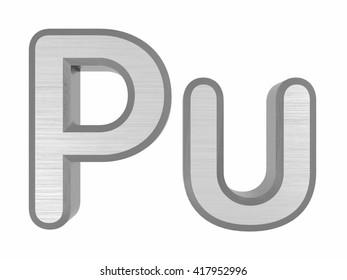Periodic Table of Elements. Plutonium. 3d title Isolated on white. 3D rendering