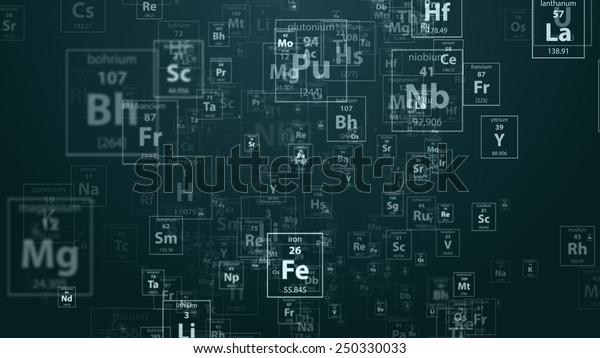Periodical chemical elements on the dark blue background