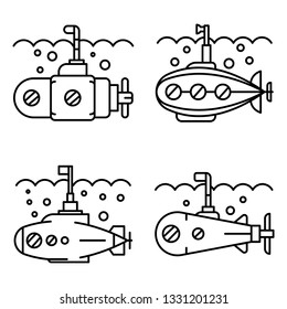 Periscope icon set. Outline set of periscope icons for web design isolated on white background