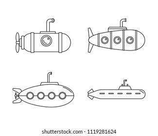 Periscope submarine telescope icons set. Outline illustration of 4 periscope submarine telescope icons for web