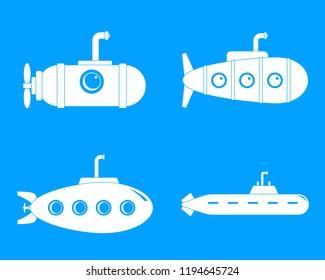 Periscope submarine telescope icons set. Simple illustration of 4 periscope submarine telescope icons for web
