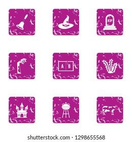 Perish icons set. Grunge set of 9 perish icons for web isolated on white background