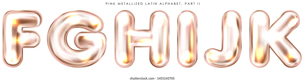 Perl pink foil inflated alphabet symbols, isolated letters F-G-H-I-J-K