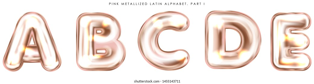 Perl pink foil inflated alphabet symbols, isolated letters A-B-C-D-E