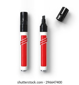 Permanent markers.Black tip.Realistic 3D rendering. Isolated on white background.Top view.