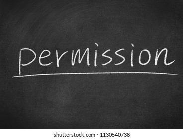 permission concept word on a blackboard background