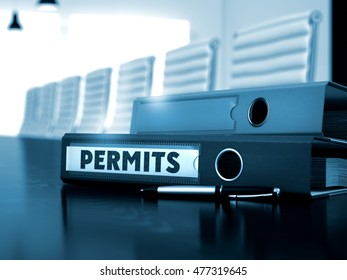 Permits. Illustration on Blurred Background. Folder with Inscription Permits on Office Desktop. 3D Render.