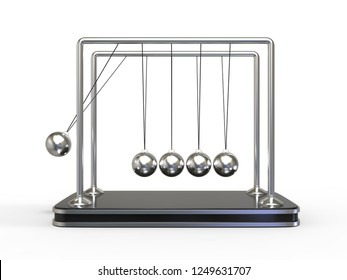 Perpetual motion. Pendulum isolated on white background, 3d illustration.